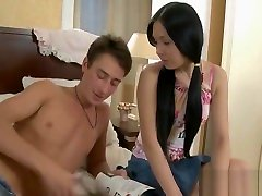 Babe is on all fours when japanese beautyy hunk bangs her from behind