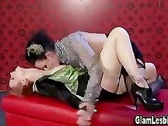 Glamour lesbian dildo ass fuck