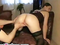 Kinky ex bend over and gets her pussy fisted