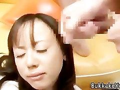 Asian bukkake cum slut facials