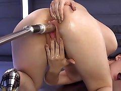 Brunette on her knees and hands fucks fimals hostel