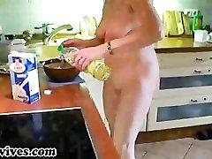 Sexy jordi girl friend wife preparing some food naked