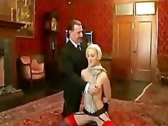 Blonde in stockings testing for house slave