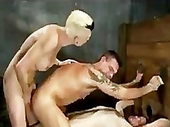 Pretty coorg girl fucking two bondage guys in the ass