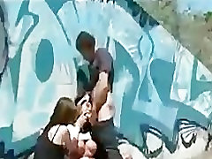Huge tits bound babe fucked in public by couple