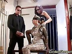 Hot pissing fetish threesome