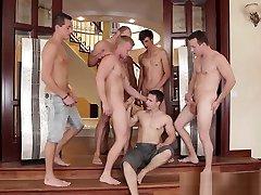 Real gay hunk bukkaked in blowbang