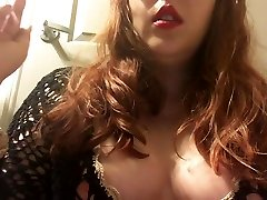 Redhead with Perky Tits Smoking in Black Sweater - Nipple Slip - Chubby