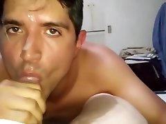 Amateur Sexy Silverio sucks mature dick and gets a messy facial
