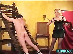 Breasts poked cum with footjob prodded