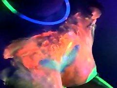 Neon - selena gomez sex fucking video GF Makes him Cum and Uses Sperm from Condom Under the UV Light