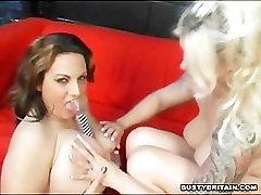 Mellie D & Cherry Big Tits Dildo Action