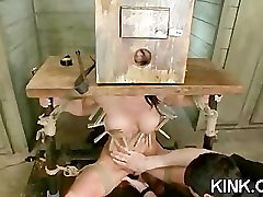 Hot pretty girl dominated in extreme sharp teat fucking sex