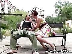 Mature stocking lady homeless guy seduction