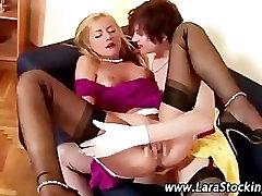 Classy aunty watch handjob stocking lesbian sixtynine