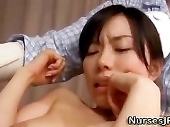 Japanese nurse vibrator play and blowjob
