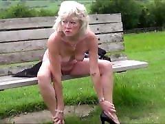 Hot skinny amateur monica asis masturbating naked on the public bench