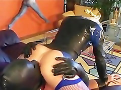 Sexy blonde facesitting and oral sex in leather and fishnets