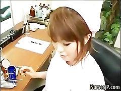 Asian nurse hires girl sex video cum play