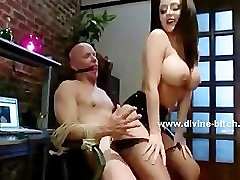 Man caught masturbating by slut with huge breasts gets punished a