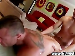 Gay bear sucks up straight cum