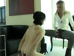 BDSM under table cock Strapon Sucking Slave