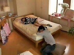 Sleeping teen getting creampie by old man
