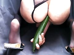 Crossdresser fuck hole with dildo ...view on nylon soles