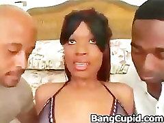 Ebony beauty Tina analized by two bbc
