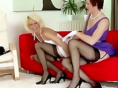 Stockings mature lesbian babe