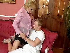 Busty Blonde giant beach cock surprise in Stockings Fucks the Cleaner