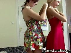 Glam lesbos lingerie dressing room