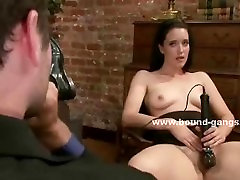 Slim babe abused in public sex orgy with nasty double penetration