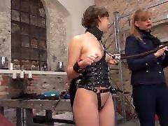 Lesbian Mistress humiliates naked slave