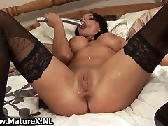 Horny in clocht wife in black stockings part4