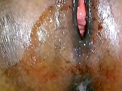 Fucking black very big boobs mom tight pussy on her period finished with a juicy creampie