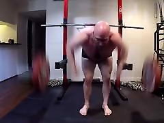 Bald Gay Man with Spectacles Does Big Sexy Workout