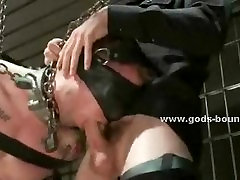 Poor gay pin sexy girl blindfolded and tied in rough chains and leather by