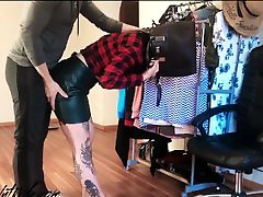 Tattooed Babe Stuck in a Bag and Rough Doggy Anal Husband