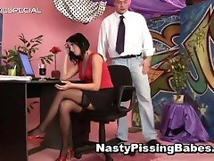 Slut in night club white dress gets pissed in her part6