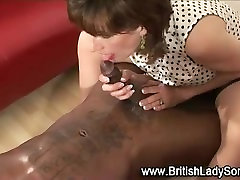Mature stocking brit lady sonia interracial handjob cumshot