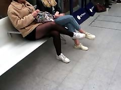 Stocking Legs In Victoria Train Station, Manchester.