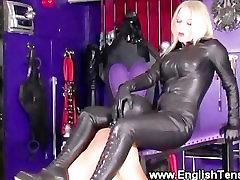 Dominatrix wants a clean pussy and asks sub to lick it