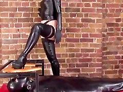 Domina queens her restrained gimp