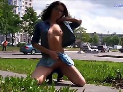 Russian girl posing nude in the city streets