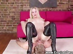 Useless male queened by leather loving domina
