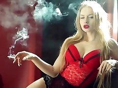 A hot blonde girl smokes a cigarette. Perfect slim body, hot tits! Amazing!