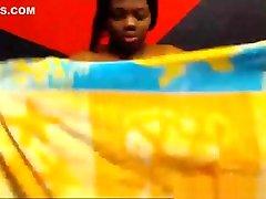 Ebony BBW milks her tits on webcam