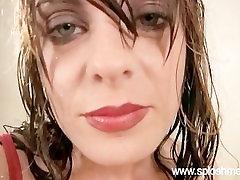 Messy dar musut xxxx yogurt masturbation with D-cup skinny brunette model