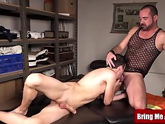 Hairy daddy barebacked after massaging hung bdsm board twink